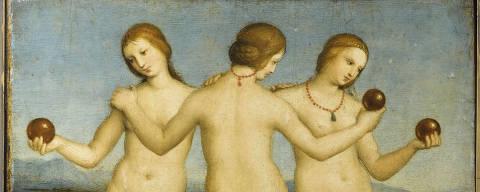'As Três Graças', óleo sobre madeira do pintor renascentista Rafael de 1504 pertencente à coleção do Museu Condé Chantilly