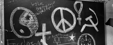 FILE ? Graffiti on a blackboard at some point after protests began on April 23, 1968 at Columbia University, in New York. As the 50th anniversary of the student takeover approaches, strike veterans gather to debate what happened, and whose stories have been left out. (Neal Boenzi/The New York Times) ORG XMIT: XNYT168