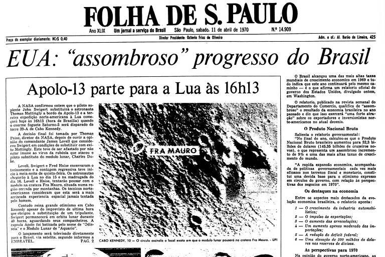 1970: Nasa troca astronauta da Apollo 13 e confirma lançamento rumo à Lua