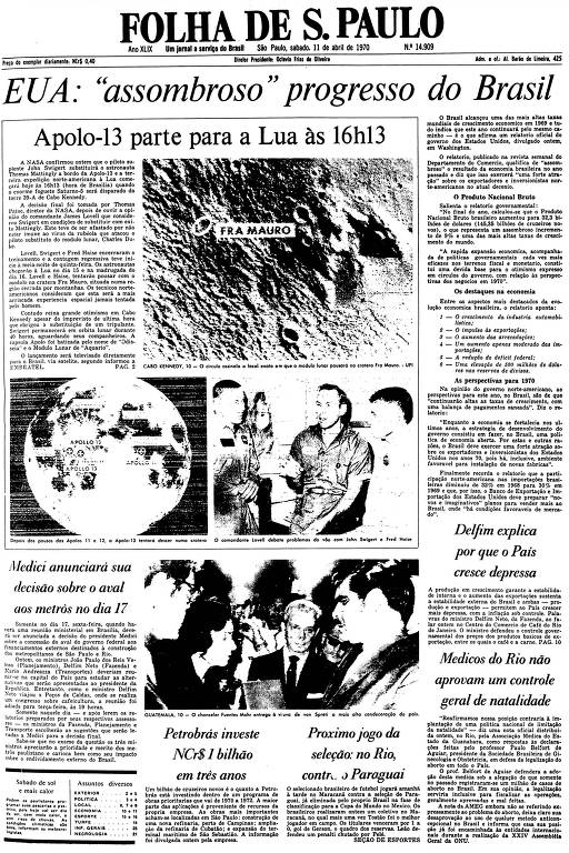 Primeira Página da Folha de 11 de abril de 1970