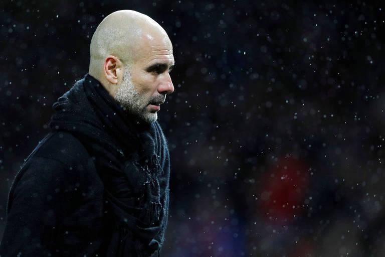 Pep Guardiola, técnico do Manchester City, após partida contra o Manchester United em Old Trafford