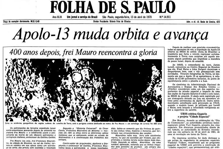 1970: Apollo 13 altera órbita e segue sem problemas rumo à Lua