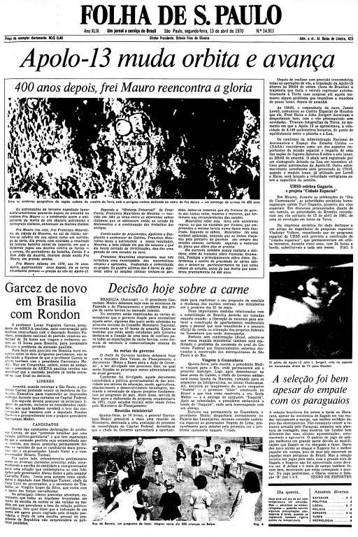 Primeira Página da Folha de 13 de abril de 1970