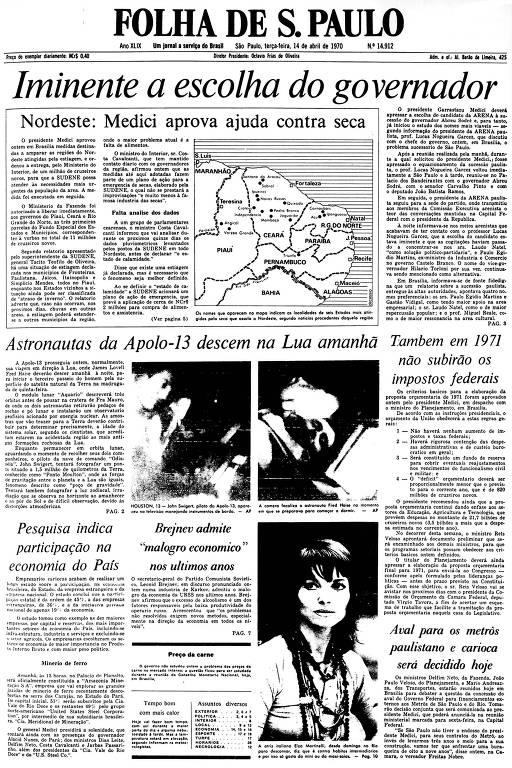 Primeira Página da Folha de 14 de abril de 1970
