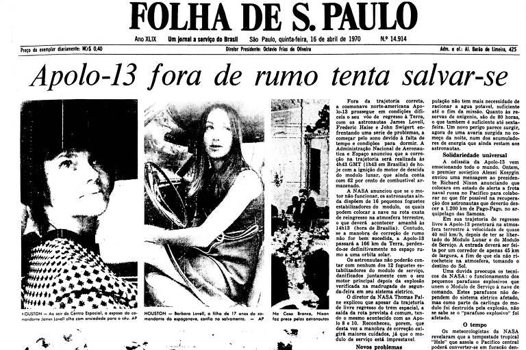 1970: Após relatar problema, Apollo 13 tenta corrigir trajetória para voltar à Terra