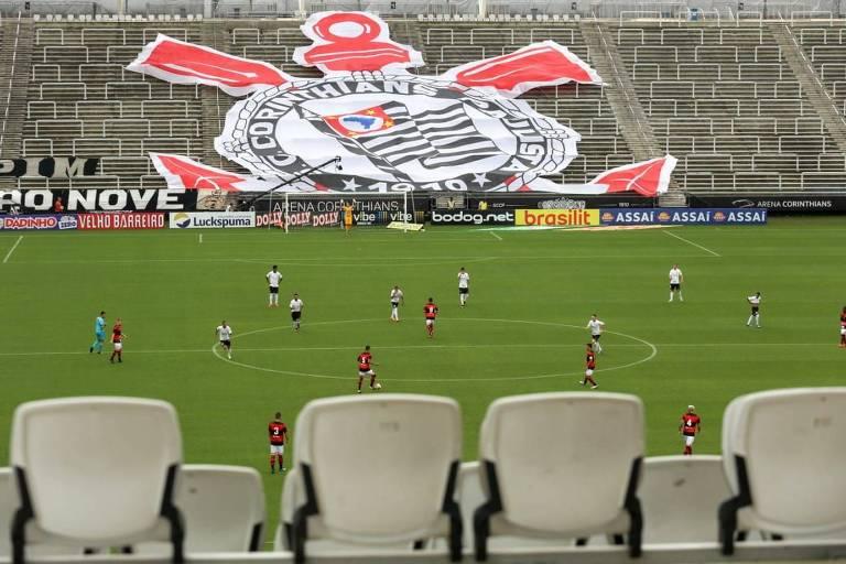 Corinthians e Ituano, disputado sem torcida antes da paralisação do Campeonato Paulista
