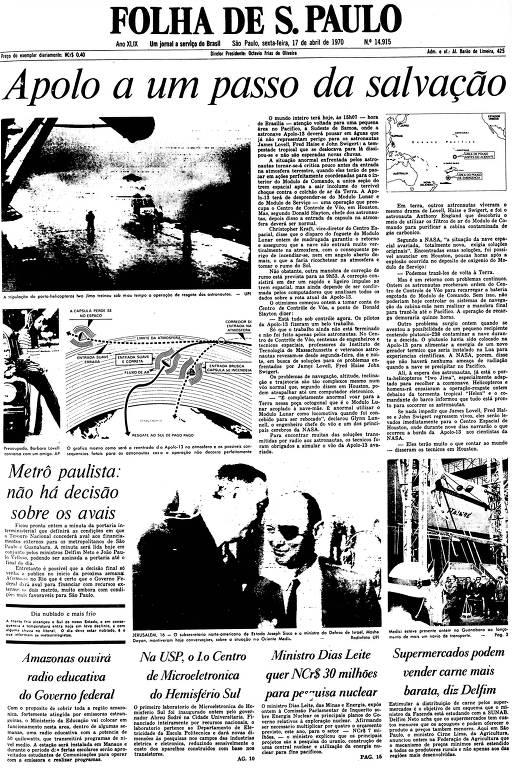 Primeira Página da Folha de 17 de abril de 1970