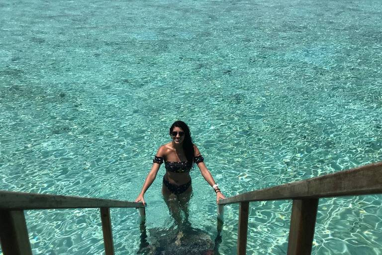 Olívia de Freitas durante lua de mel nas Maldivas