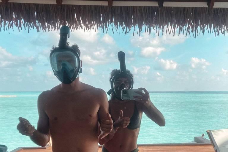 Olívia e Raul de Freitas durante lua de mel nas Maldivas