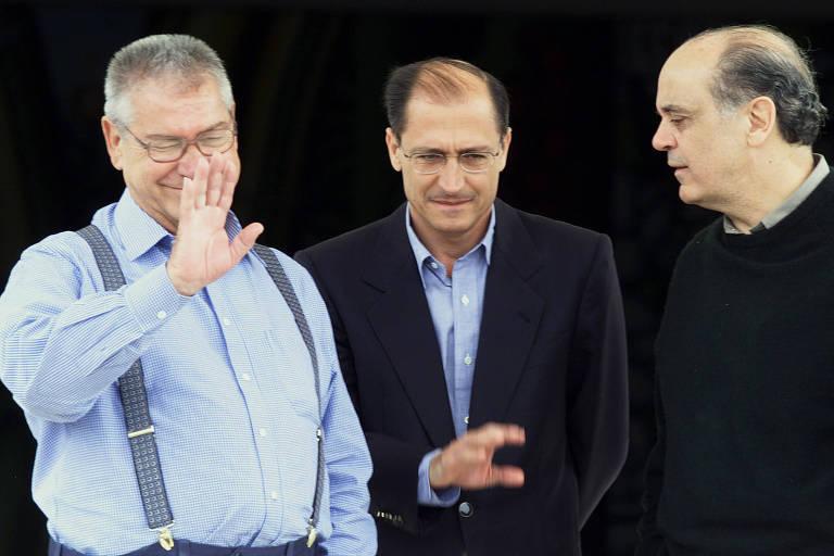 Mário Covas, Geraldo Alckmin e José Serra, em 2000