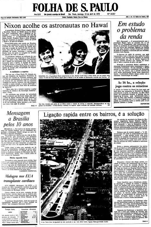 Primeira Página da Folha de 19 de abril de 1970