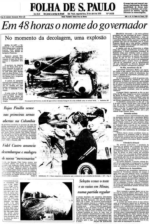 Primeira Página da Folha de 20 de abril de 1970