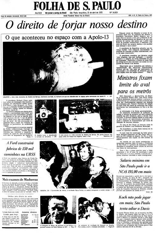 Primeira Página da Folha de 21 de abril de 1970