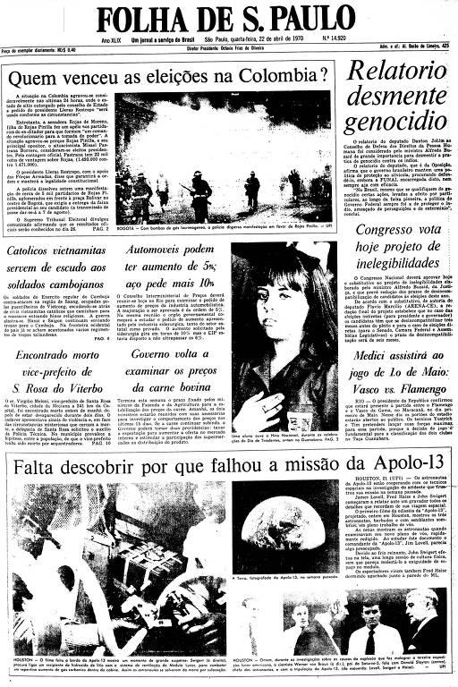 Primeira Página da Folha de 22 de abril de 1970