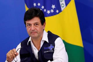 Brazil's Minister of Health Luiz Henrique Mandetta attends a news conference, amid the coronavirus disease (COVID-19) outbreak, in Brasilia