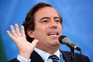 Caixa Economica Federal Bank President Guimaraes speaks at media statement in Brasilia