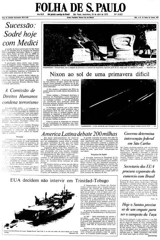 Primeira Página da Folha de 24 de abril de 1970