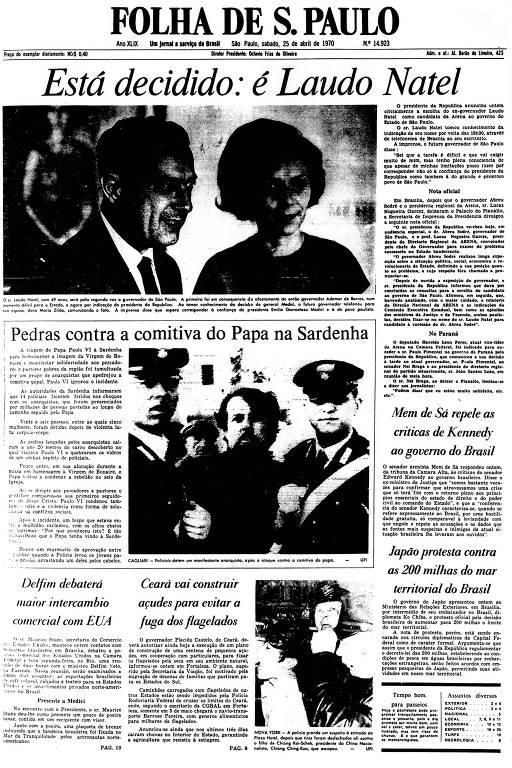 Primeira Página da Folha de 25 de abril de 1970