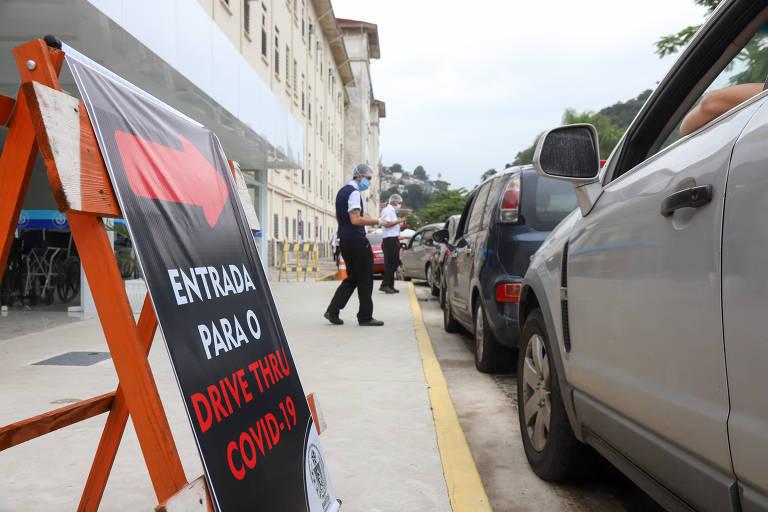 Drive Thru de testes covid-19 em Santos