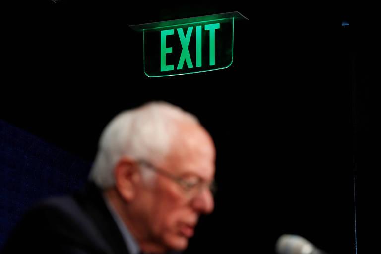 O senador Bernie Sanders durante evento de sua pré-campanha em Burlington (Vermont) em março
