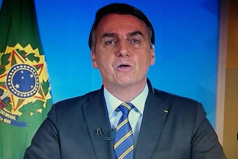Bolsonaro durante pronunciamento sobre a crise do coronavírus nesta quarta-feira (8)