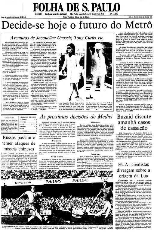 Primeira Página de 27 de abril de 1970