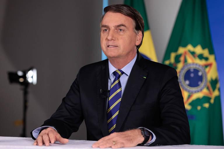 O presidente da República, Jair Bolsonaro, em pronunciamento