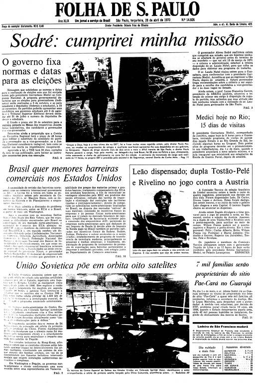 Primeira Página da Folha de 28 de abril de 1970