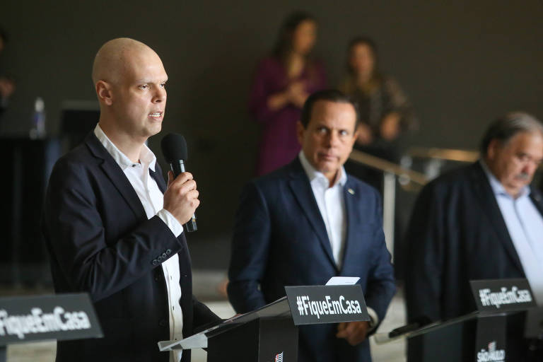 O prefeito Bruno Covas (PSDB) em entrevista no Palácio dos Bandeirantes
