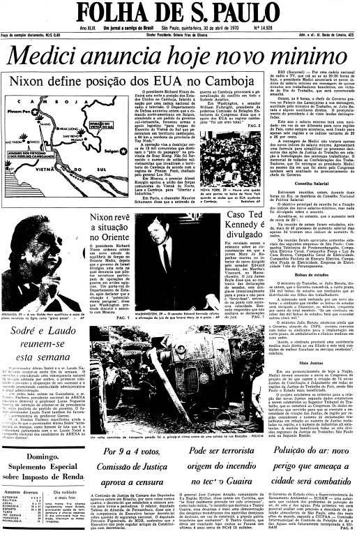 Primeira Página da Folha de 30 de abril de 1970