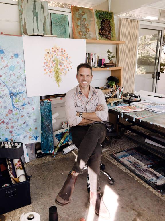 Hunter Biden em seu estúdio de arte, em Los Angeles, em novembro de 2019