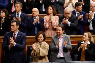 Spain's Prime Minister Pedro Sanchez, Deputy Prime Ministers Carmen Calvo, Pablo Iglesias, Nadia Calvino and Teresa Ribera attend a ceremony to inaugurate the XIV Legislature at Parliament in Madrid