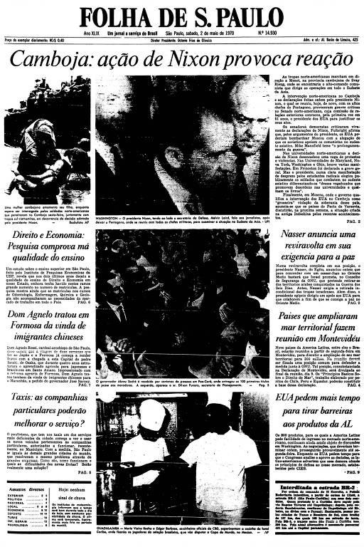 Primeira Página da Folha de 2 de maio de 1970