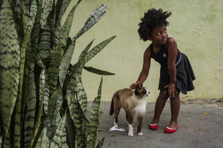 Beatriz, 5, filha da congolesa Sylvie, brinca com gato em rua da região de Aricanduva, na zona leste
