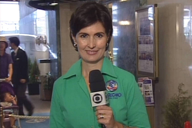 Fátima Bernardes na cobertura da Copa de 2002