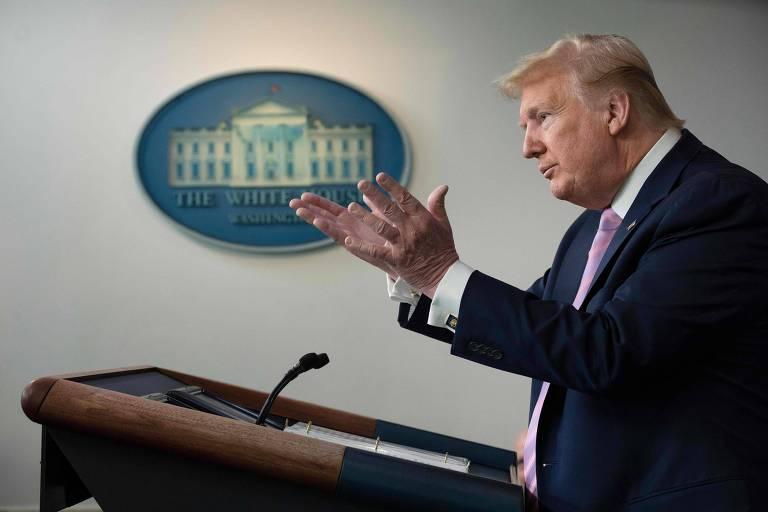 O presidente Donald Trump durante a entrevista coletiva diária sobre o coronavírus na Casa Branca
