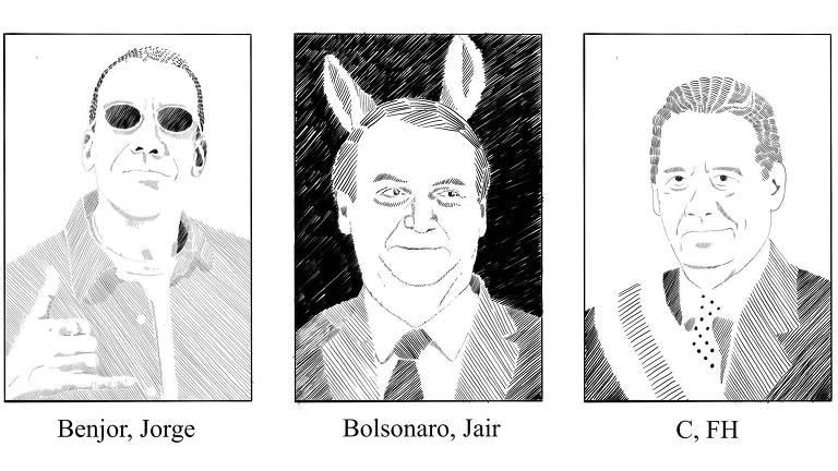 Ilustração de Jorge Ben Jor, Jair Bolsonaro com orelhas de burro e Fernando Henrique Cardoso