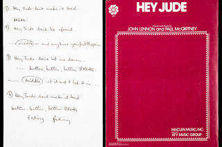 Paul McCartney's scribbled note for a recording session in London in 1968 of