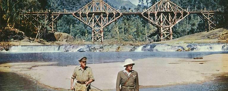 """Cena do filme """"A Ponte do rio Kwai"""""""