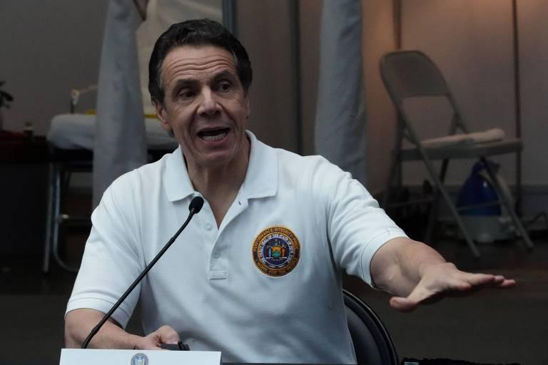 Governador do estado de Nova York, Andrew Cuomo, em coletiva de imprensa