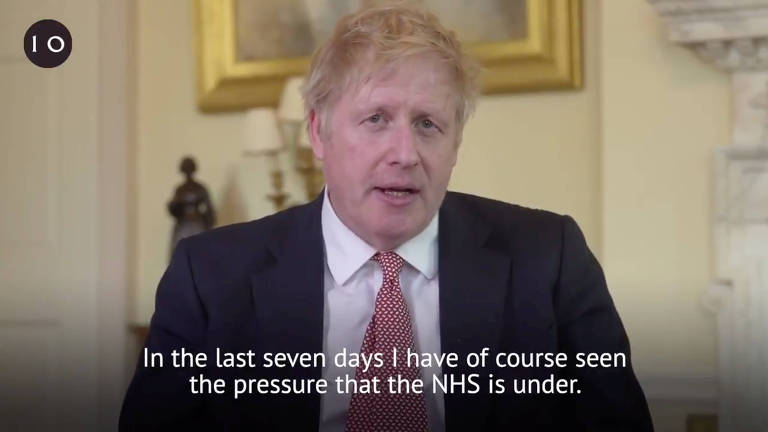 Boris Johnson, primeiro-ministro do Reino Unido, faz pronunciamento após receber alta de hospital onde foi internado com Covid-19