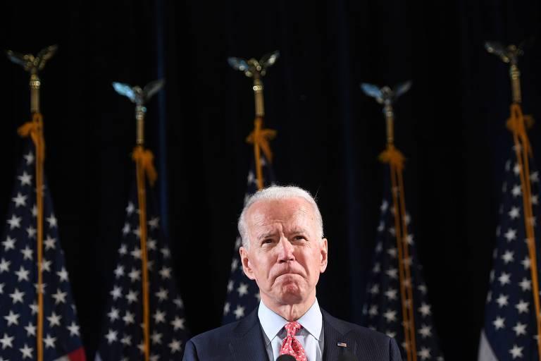 O ex-vice-presidente Joe Biden durante discurso de sua campanha em Wilmington, no estado de Delaware