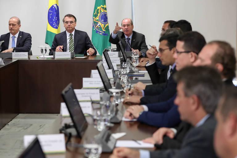 O presidente Jair Bolsonaro, durante reunião com ministros, em agosto de 2019