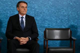 O presidente Jair Bolsonaro em cerimônia em Brasília (DF)