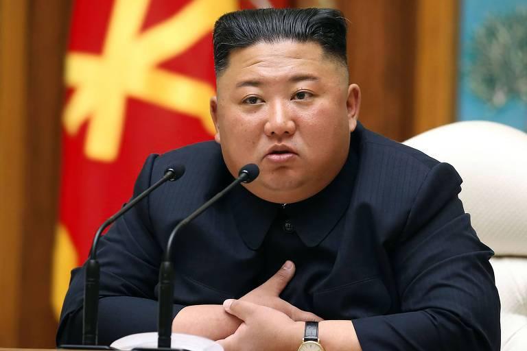 O ditador da Coreia do Norte, Kim Jong-un, em sua última aparição pública, em 11 de abril