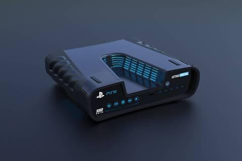 Esboços vazados do PlayStation 5, da Sony, revelam um console com design em formato de 'V' e uma possível câmera 4K para transmissões ao vivo
