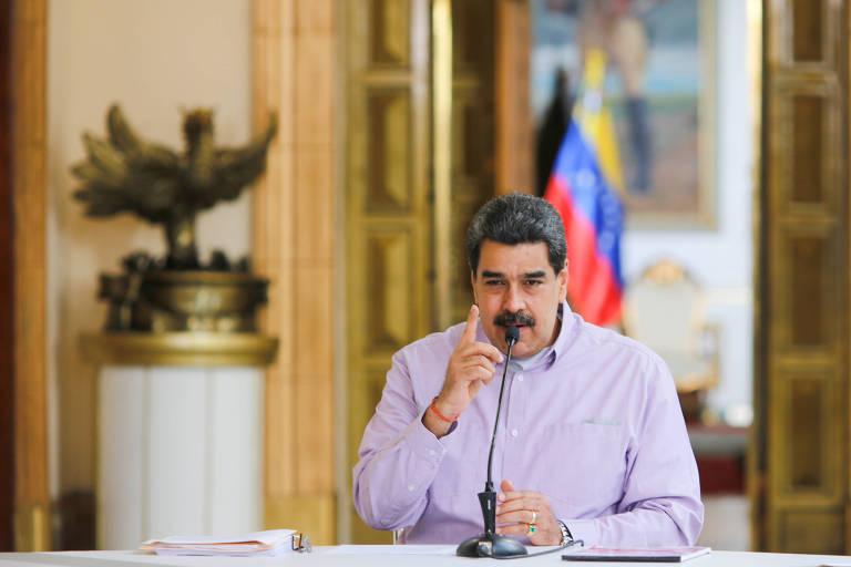 Nicolás Maduro em encontro com delegação de cientistas chineses para tratar do combate ao novo coronavírus