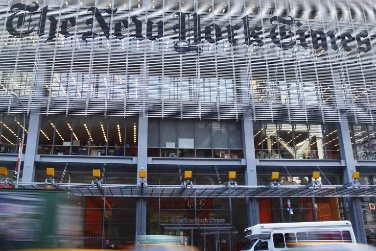 Fachada do prédio do jornal New York Times em Nova York