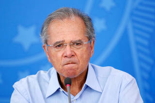 Brazil's Economy Minister Paulo Guedes attends a news conference, amid the coronavirus disease (COVID-19) outbreak in Brasilia