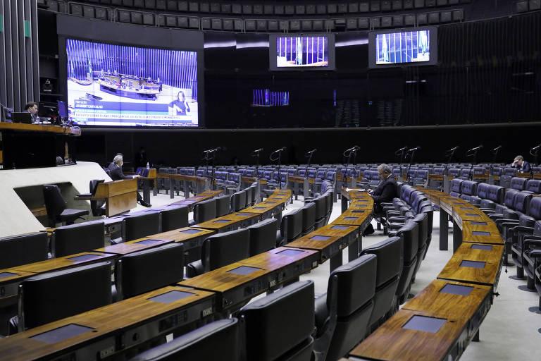Câmara dos Deputados em votação digital nesta semana; texto de socorro aos estados foi aprovado